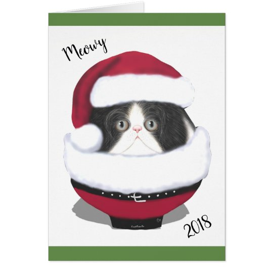 Santa Cat Kitten Persian Holiday Card