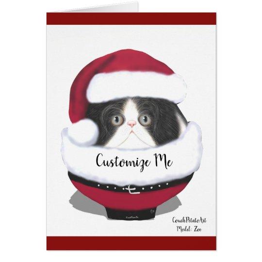 Santa Cat Kitten Persian Holiday Card