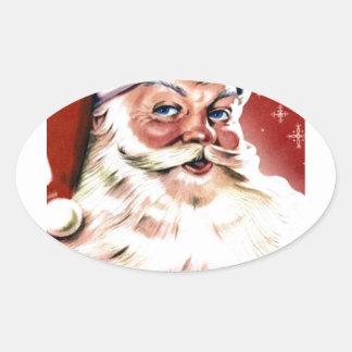 Santa Christmas HO Merry Joy Peace Seasons Jolly Oval Sticker
