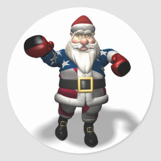 Santa Claus At Boxing Day Classic Round Sticker
