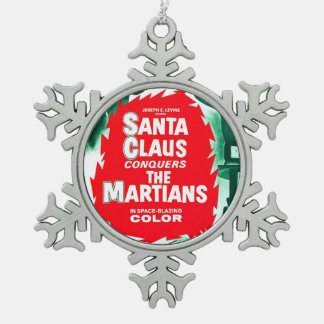Santa Claus Conquers The Martians Snowflake Pewter Christmas Ornament