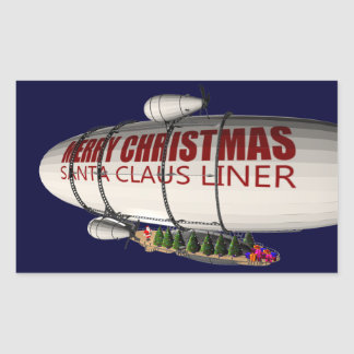 Santa Claus In Zeppelin Rectangular Sticker
