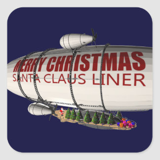 Santa Claus In Zeppelin Square Sticker
