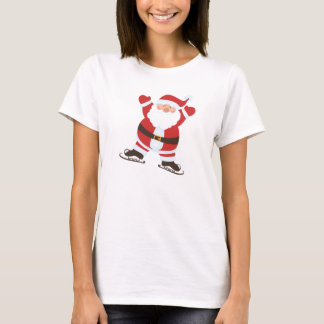 Santa Claus on Ice Skates Christmas Holiday T-Shirt