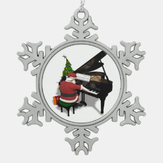 Santa Claus Playing Piano Snowflake Pewter Christmas Ornament