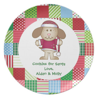 Santa Claus Puppy Elf Cookie Plate