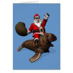 Santa Claus Riding On Walrus Greeting Card