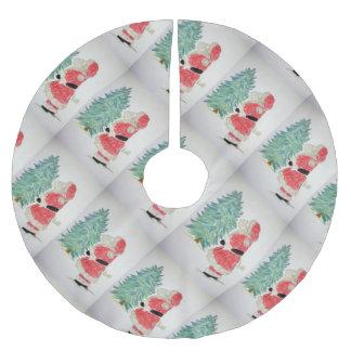 santa claus & tree brushed polyester tree skirt