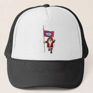Santa Claus With Ensign Of Arkansas Trucker Hat