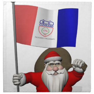 Santa Claus With Ensign Of Cleveland Napkin