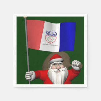 Santa Claus With Ensign Of Cleveland Paper Napkins