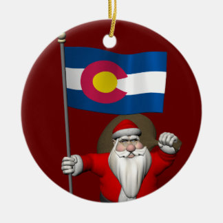 Santa Claus With Ensign Of Colorado Christmas Ornament