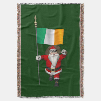 Santa Claus With Ensign Of Ireland Throw Blanket