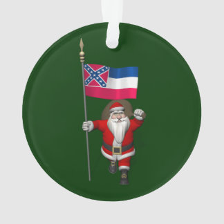 Santa Claus With Ensign Of Mississippi Ornament
