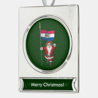 Santa Claus With Ensign Of Missouri Silver Plated Banner Ornament