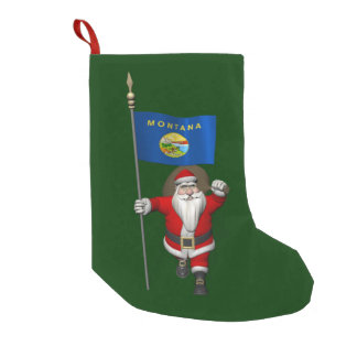 Santa Claus With Ensign Of Montana Small Christmas Stocking