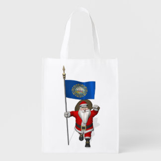 Santa Claus With Ensign Of New Hampshire Reusable Grocery Bag