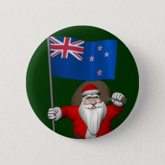 Santa Claus With Ensign Of New Zealand 6 Cm Round Badge