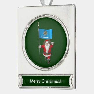 Santa Claus With Ensign Of Oklahoma Silver Plated Banner Ornament