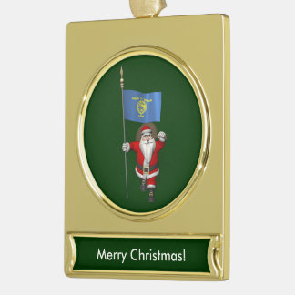 Santa Claus With Ensign Of Oregon Gold Plated Banner Ornament