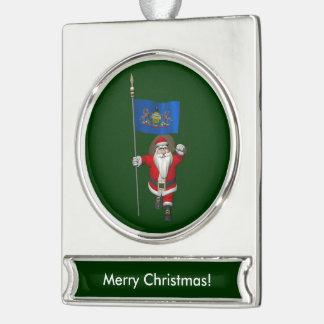 Santa Claus With Ensign Of  Pennsylvania Silver Plated Banner Ornament