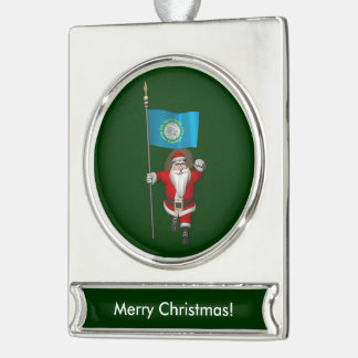 Santa Claus With Ensign Of South Dakota Silver Plated Banner Ornament