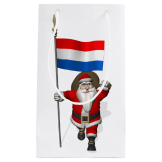Santa Claus With Ensign Of The Netherlands Small Gift Bag