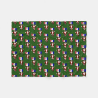 Santa Claus With Flag Of Cleveland Fleece Blanket
