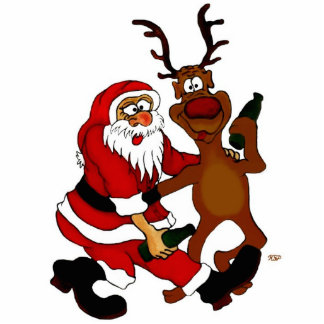 Santa Claus with moose Standing Photo Sculpture