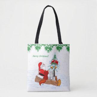 Santa Claus with Rabbit Fox and Squirrel Tote Bag