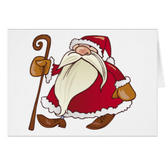 Santa Claus With Walking Stick Card