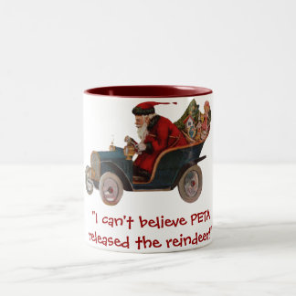 Santa Clunker Car PETA Reindeer Mug