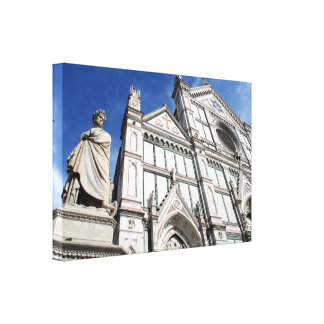 Santa Croce Basilica with the Dante Statue outside Gallery Wrapped Canvas