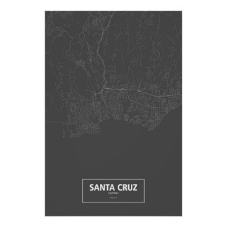 Santa Cruz, California (white on black) Poster