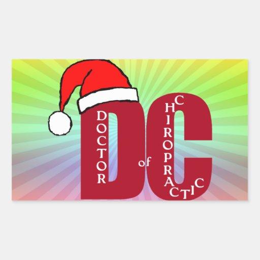 Santa DC Doctor of Chiropractic Christmas Logo Rectangle Sticker