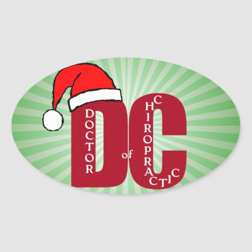 Santa DC Doctor of Chiropractic Christmas Logo Oval Sticker