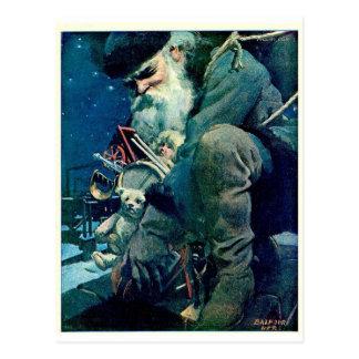 Santa Delivering Toys Postcard