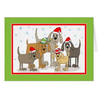 Santa Dogs Holiday Seasonal Greeting Card
