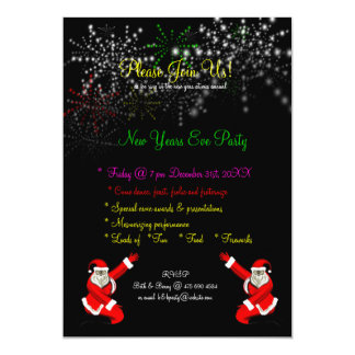 Santa Fireworks New Years Eve Party Invitation
