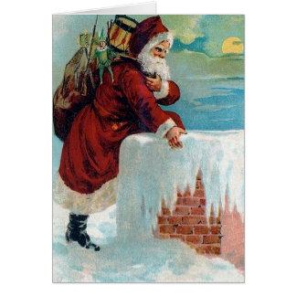 Santa Going Down the Chimney Vintage Christmas Card