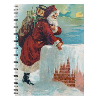 Santa Going Down the Chimney Vintage Christmas Notebooks