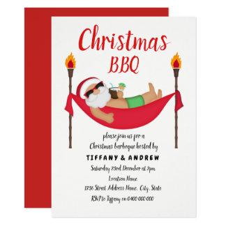 Santa Hammock Summer Christmas Barbeque BBQ Invite