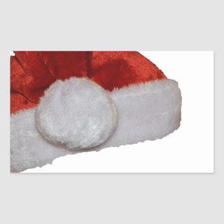 Santa Hat Red Christmas Holiday Office Party Rectangular Sticker