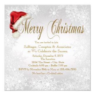 Santa Hat Snowflake Corporate Christmas Party Card