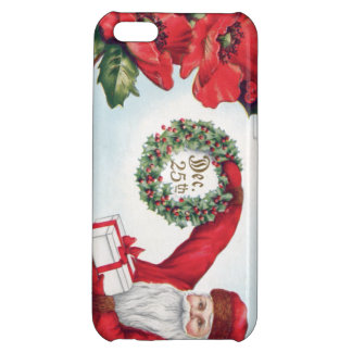 Santa Holly Wreath Poinsettia Present Dec 25th iPhone 5C Covers
