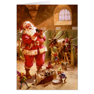 Santa in the Reindeer Barn Card