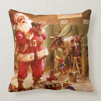 Santa in the Reindeer Barn Cushion