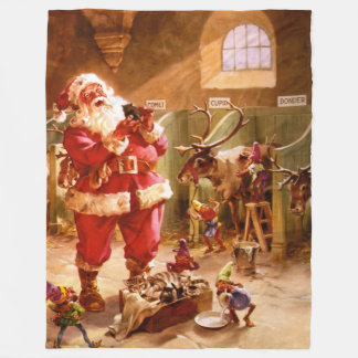 Santa in the Reindeer Barn Fleece Blanket