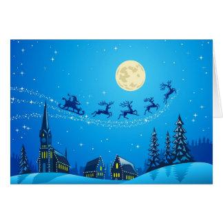 Santa Into the Winter Christmas Night Card