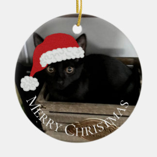 Santa Kitten Christmas Ornament